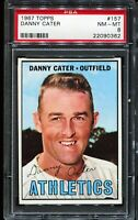 1967 Topps Baseball #157 DANNY CATER Kansas City Athletics PSA 8 NM-MT