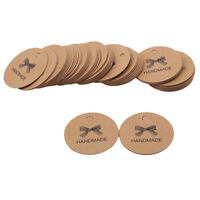 "Gift Tags""Handmade"" Round Tags 100 PCS Brown Kraft Hang Tags Jian"
