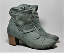 MJUS SHOES LIGHT BLUE LEATHER PERFORATED ANKLE BOOTS 37 BOOTIES SIDE ZIP