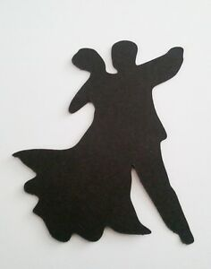 5 x DANCERS LADY MAN DANCING SILHOUETTE  Die Cuts  Quality Black Card