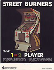 STREET BURNERS ORIGINAL VIDEO ARCADE GAME NOS FLYER BROCHURE ALLIED 1975