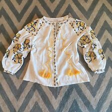 XL New ANTHROPOLOGIE Embroidered Women's Floral Gauze Peasant Blouse Top LARGE