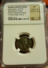 Ancient Roman AR Denarius 44 BC JULIUS CEASAR Lifetime Portrait NGC Certified