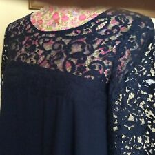 Monsoon Navy Blue  Lace Abigail Dress Size 8 Bnwot  Post Daily Hols 9 May