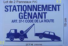 2 Panneaux Signalisation Interdiction,STATIONNEMENT GÊNANT (Enlèvement Demandé)