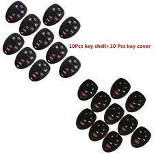 10Pcs 6 Buttons Remote Key Fob Shell Case With Key Cover Bag For GMC Chevrolet