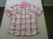 107 MENS NWOT POLITIX PINK / RED / LIME / BLUE CHECK S/S SHIRT XXL $110 RRP.
