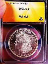 Morgan Silver Dollar 1921 D ANACS MS 63 Should Be PL/DMPL Stunning Mirrors RARE