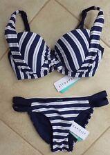 Seafolly Isola Bikini 8 Drifter Indigo D-E Balconette Bra & Double Band Hipster