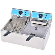 Commercial Electric Deep Fryer Dual Tank Stainless Steel 2 Fry Basket 210l Home