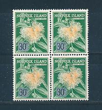 NORFOLK ISLAND 1966 DEFINITIVES SG69 30c (ROSE APPLE) BLOCK OF 4 MNH