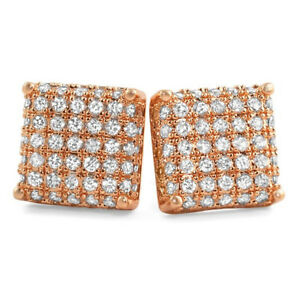 Rose Gold Finish 3D Iced Out CZ Square Mens Earrings Studs