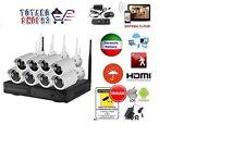 KIT VIDEOSORVEGLIANZA WIRELESS FULL WIFI HD IP 8 TELECAMERE NVR LAN REMOTO 3G