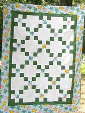50x38 Turtle Water Heaven~ Green White Gold Tonal Twirls ~ Irish Chain Quilt Top