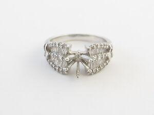 14k White Gold Diamond Engagement Semi Mount Ring Size 7 1/4 1.00 carat