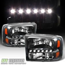 Black 1999-2004 Ford F250/F350/F450 Superduty Excursion LED Headlights Headlamps