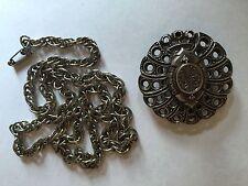 Vintage Art Nouveau Brooch A-F PARIS Silver Tone Brevete with Chain