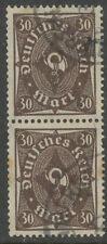 DT.REICH Posthornmarken ohne Unterdruck 30 M lilabraun gest Paar INFLA geprüft