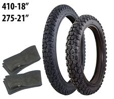 FRONT & REAR TYRES TO FIT YAMAHA DT 125 R 410-18 275-21 + INNER TUBES TRAILS MX