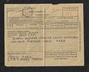 BEA ERITREA MASSAUA TELEGRAMM COVER HIGH FRANKING 1950