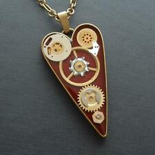 STEAMPUNK HEART NECKLACE  PENDANT BRONZE COGS CLOCK PARTS DARK RED RESIN UNIQUE