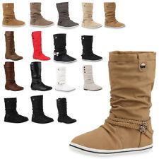 Flache Damen Stiefel Schlupfstiefel Winter Schuhe 70587 Gr. 36-41 Top