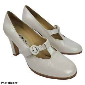 Enzo Angiolini White Pearlescent Leather Mary Jane Heels Women's Size 7.5 B