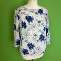 M&S Womens Blouse UK 14 3/4 Sleeve Blue Floral Mix Loosefit Floaty