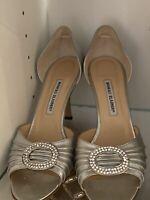 Manolo Blahnik D'Orsay Sedaraby Napa Silver Heels Size 42 Excellent Condition