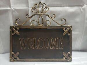 Vintage Welcome Metal Sign, Fleur-de-lis  Design, Farmhouse Country
