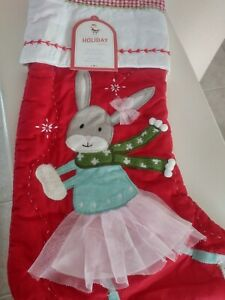 Pottery Barn Kids Skating Bunny Christmas Quilted Stocking NO MONO Sold Out