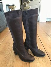 TIMBERLAND brown leather EARTHKEEPERS knee high block heel boots 5.5  38.5 NEW