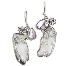 1.5CT AMETHYST BIWA FRESHWATER CULTURED STICK PEARL 925 SILVER earrings