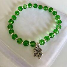 New St Patricks Day Green Bracelet, Elasticated ~ Lucky Four leaf Clover Charm
