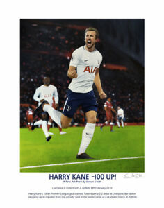 HARRY KANE FINE ART FOOTBALL PRINT LTD ED SPURS TOTTENHAM HOTSPUR, ARTIST SIGNED