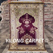 YILONG 2'x3' Purple Pray Rug Hand Made Persian Silk Carpet Living Room P08A