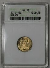 "1916 Barber Dime Anacs MS63 ""Soapbox Holder, Gem Luster & Look"""