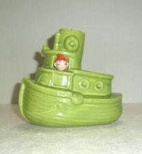 Vintage GILNER Ceramic Pixie Elf Tugboat Planter Peeks from Window