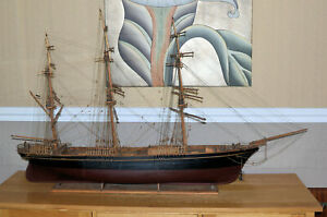 Very large clipper wooden model ship, c. 1930s.