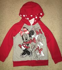 Disney Minnie Mouse Red and Gray Hoodie Zippered Sweatshirt Licensed Size 5; NWT