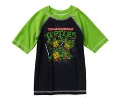 NICKELODEON TMNT Toddler Boys Swimwear Rashguard Shirt Green 4T