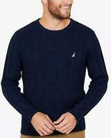 Nautica Men's Fisherman Crewneck Cable Knit Crew Sweater, Navy Blue, Small