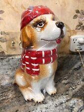 Christmas Dog Ceramic Cookie Jar 11� Tall St. Bernard New Santa Hat