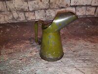Vintage Old 1950's Metal Tin 1 Litre Paraffin Oil Petrol Can Jug Pourer Bp Shell