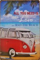 "VW Camper Van ""Hippy Wagon"" metal wall plaque - Surfing beach retro tin sign"