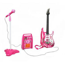 E-Gitarre Mikrofon Verstärker Stativ Kinder Rockgitarre SET pink