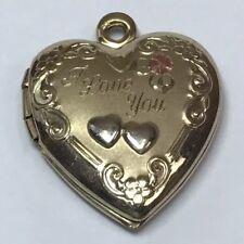 40f1689eaec7 VINTAGE 1 20 14K G.F. YELLOW GOLD FILLED HEART LOCKET PENDANT I LOVE YOU