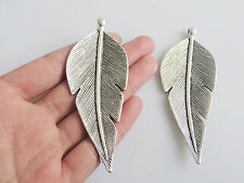 2 x Large Tibetan Silver Leaf Feather Shaped Pendants 90mm for Jewellery Making