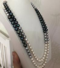 elegant 8-11mm south sea multicolor round  pearl necklace48inch 14k