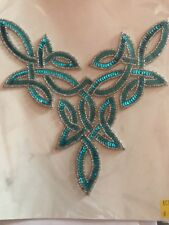 Aqua Blue Celta Lentejuelas Apliques Bordados Motif Irlandés Baile Disfraz Grande